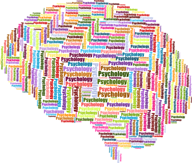 psychology word graphic in the shape of a brain
